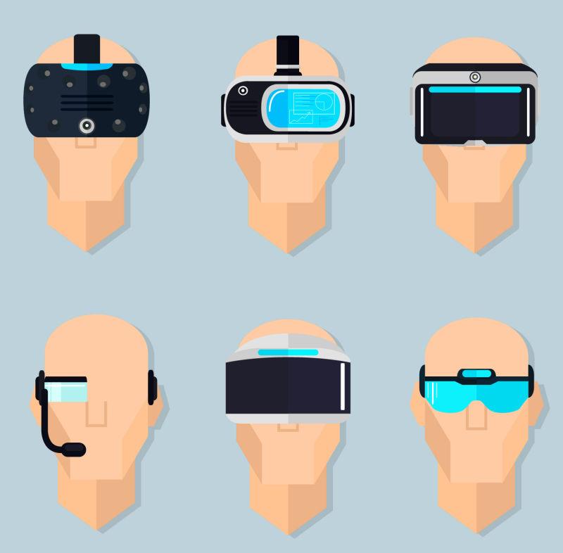 抽象矢量带着虚拟眼镜的人插图