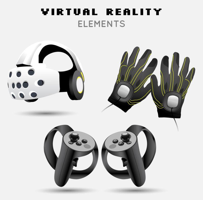 抽象矢量现代虚拟眼镜游戏机