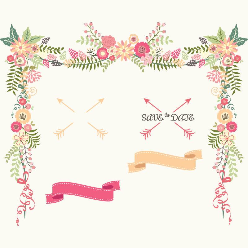 创意矢量现代婚礼装饰元素