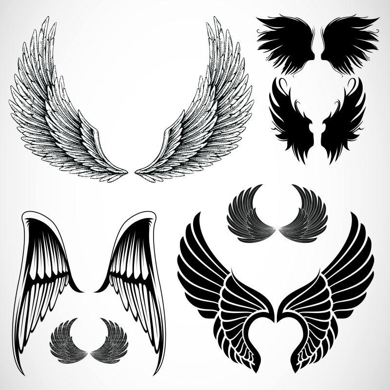 创意的手绘翅膀插图矢量设计