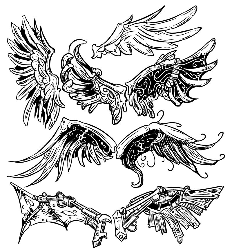创意翅膀插图矢量设计