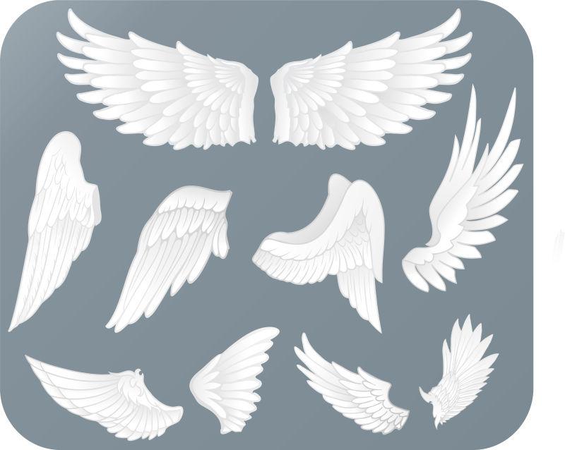 白色天使翅膀矢量插图