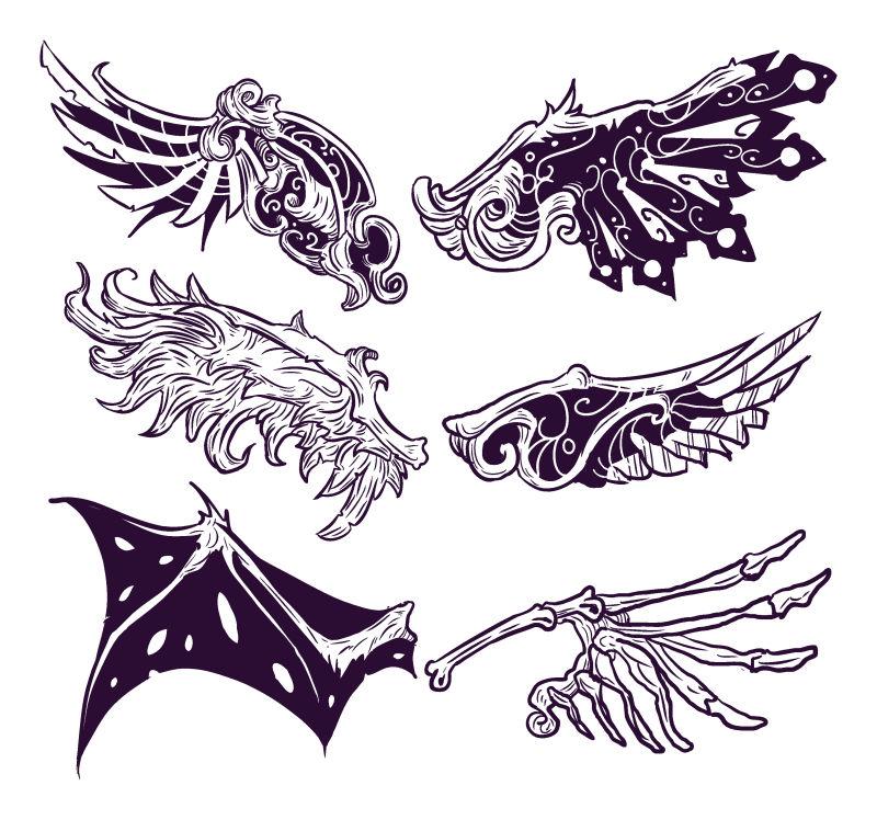 创意的手绘翅膀矢量插图