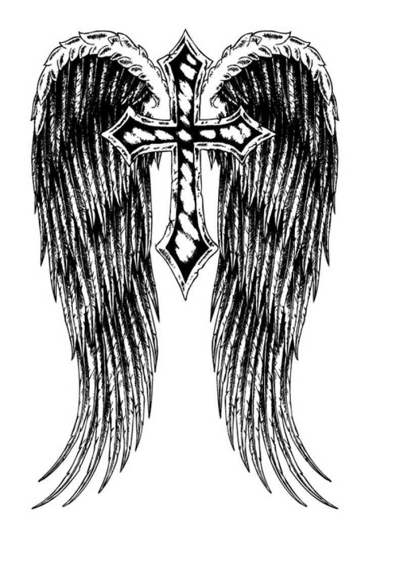 长有翅膀的十字矢量插图