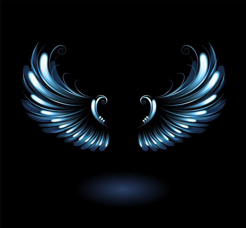 矢量的青色翅膀