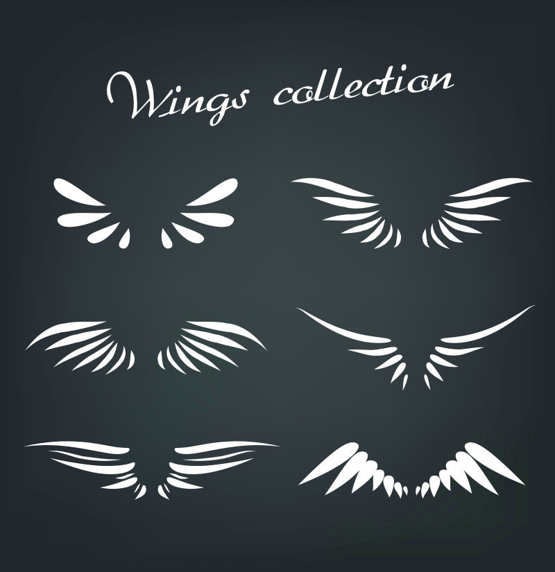 白色的翅膀矢量插图