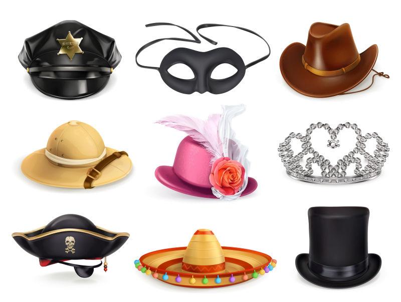 抽象矢量装饰帽子设计