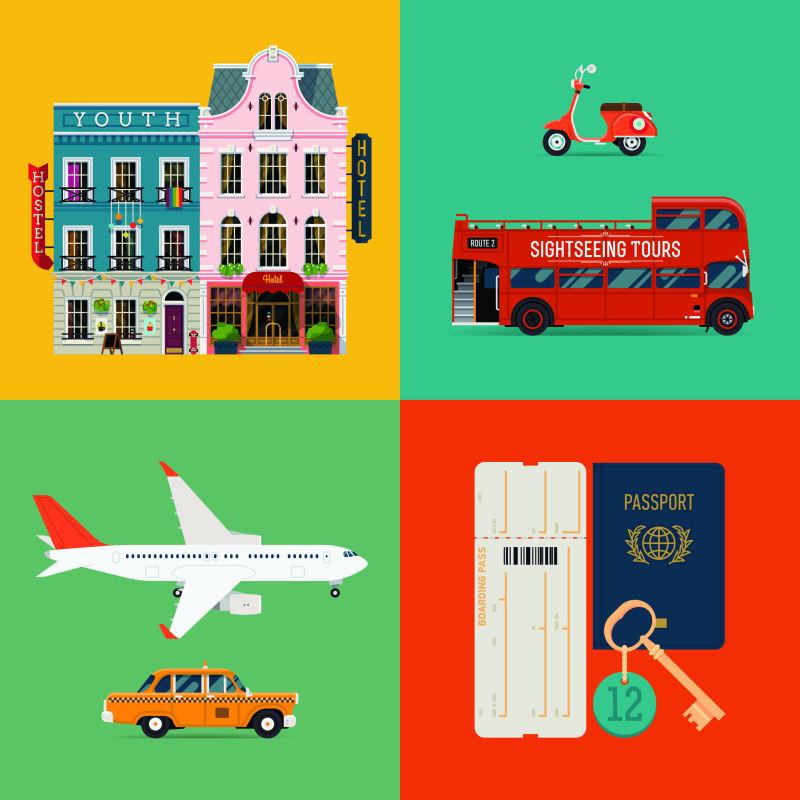 旅游主题插图矢量设计