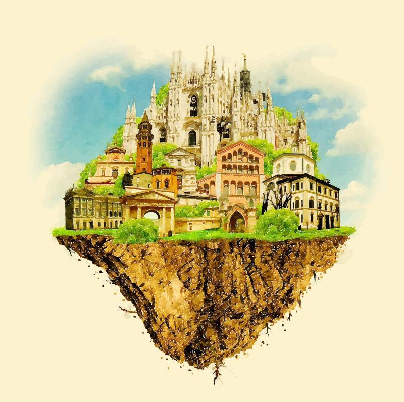 水彩米兰城市插图矢量设计