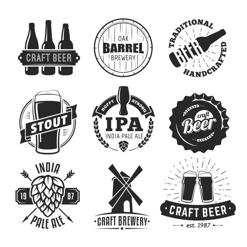 抽象矢量单色工艺啤酒徽章设计