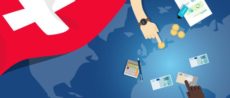 瑞士经济财政货币贸易概念——以旗图和货币为例的金融银行预算
