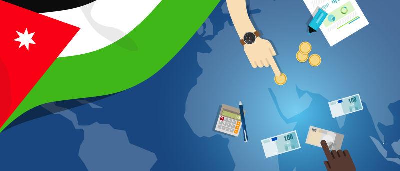 约旦财政货币贸易概念——以旗图和货币为例说明金融银行预算