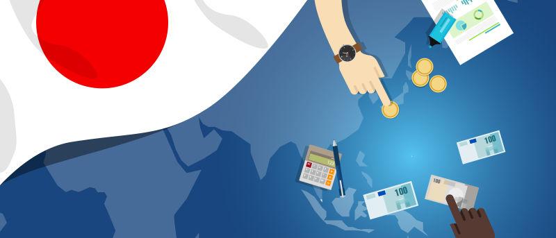 日本财政货币贸易概念——以旗图和货币为例说明金融银行预算