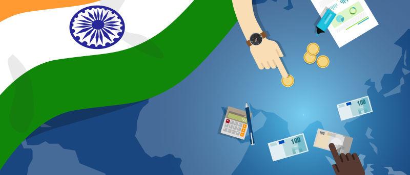 印度经济-财政-货币-贸易概念——以旗图和货币为例的金融银行预算