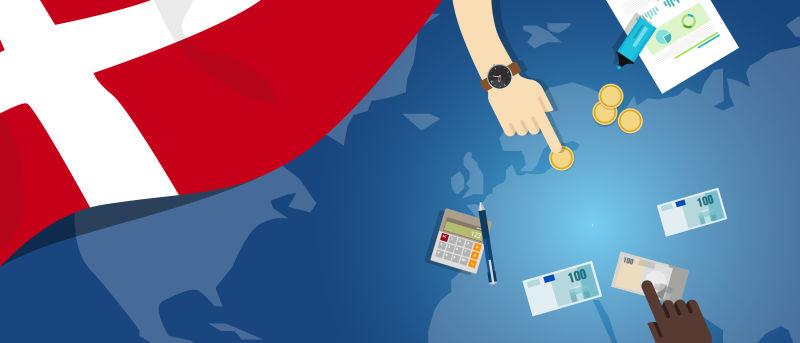 丹麦经济-财政-货币-贸易概念——以旗图和货币为例的金融银行预算