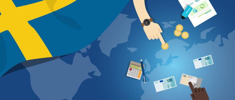 瑞典财政货币贸易概念——以旗图和货币为例说明金融银行预算