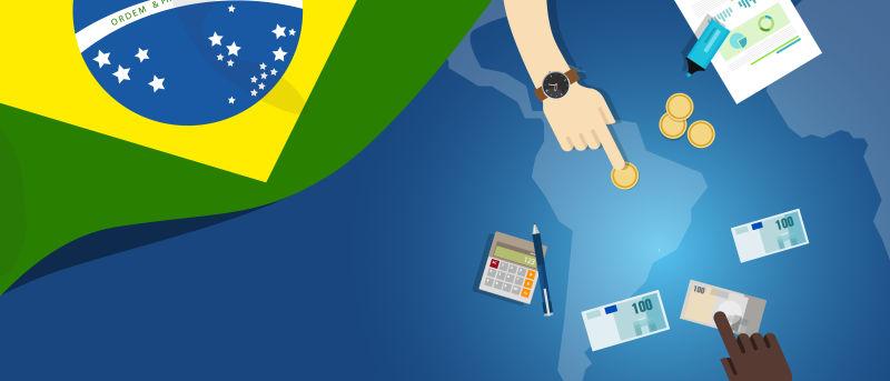 巴西财政货币贸易概念——以旗图和货币为例说明金融银行预算