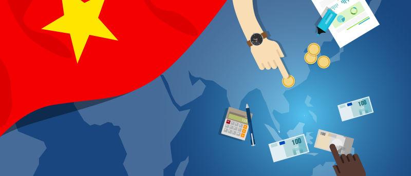 越南经济-财政-货币-贸易概念——以旗图和货币为例的金融银行预算