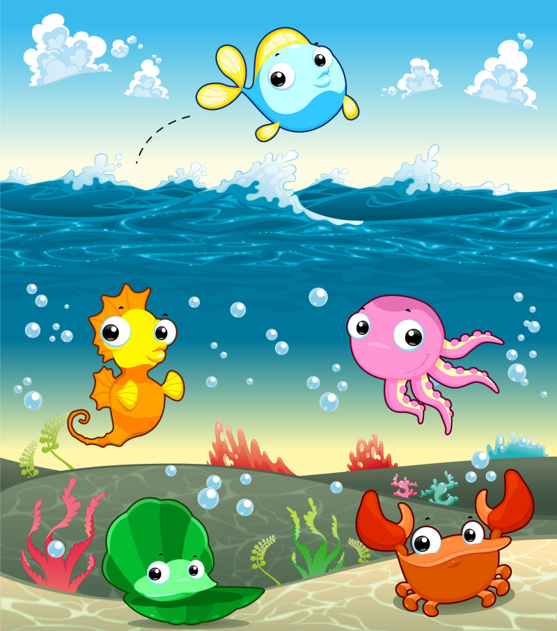 海洋中有趣的海洋家庭。