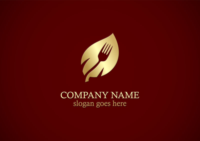 抽象矢量现代金色素食主义标志设计