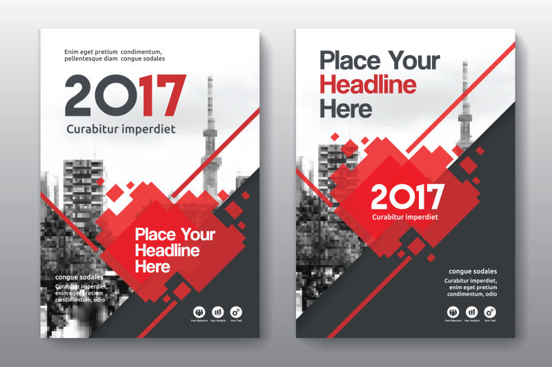 红色企业宣传手册矢量设计