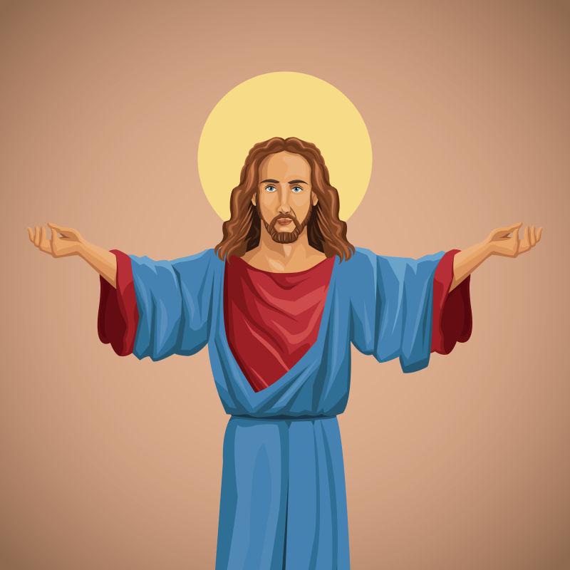 抽象矢量祝福的耶稣插图