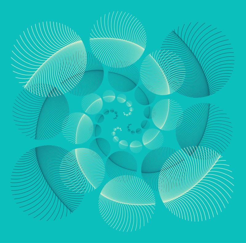 蓝色羽毛的圆形羽毛海报