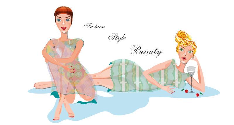 时尚美女的矢量插图