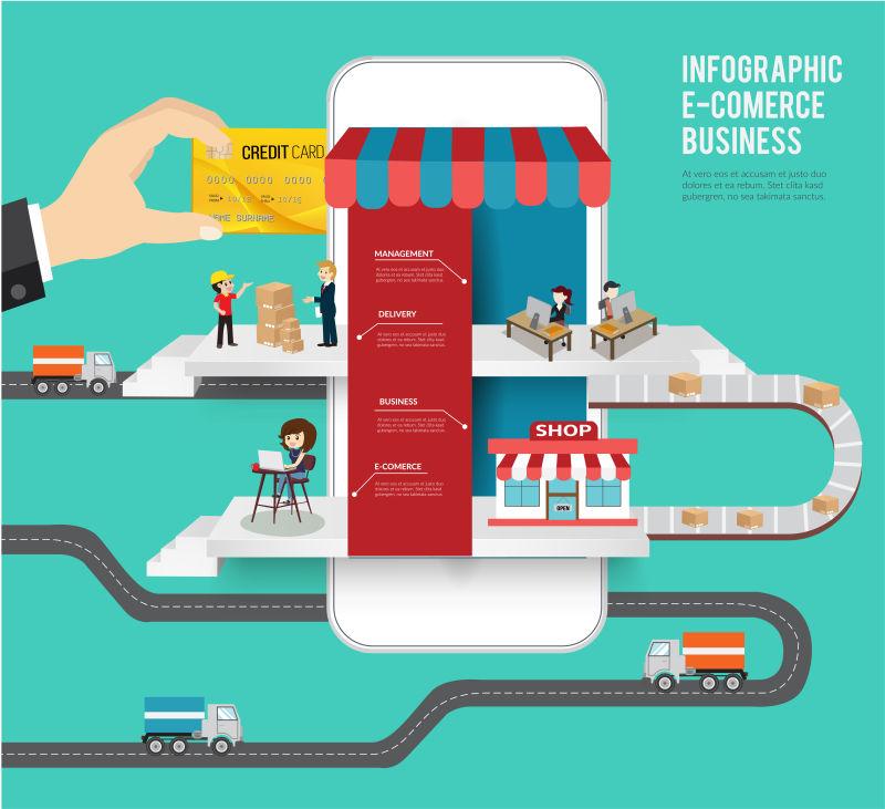创意矢量网络购物概念的平面信息图表设计