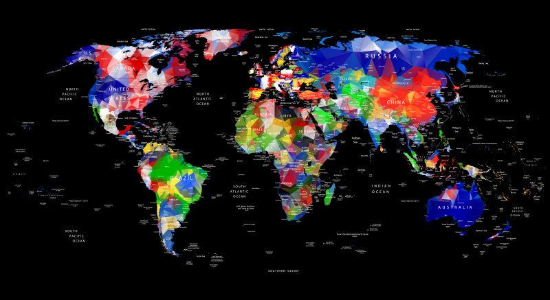 世界地图的几何设计与乡村和城市名称