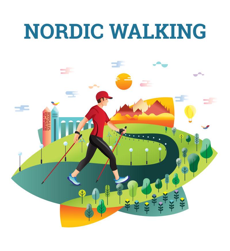矢量图示北欧步行卡。