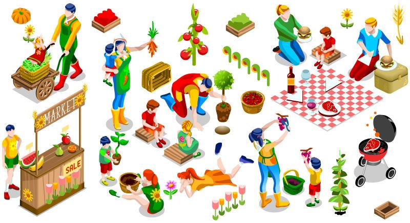 农场概念插图矢量设计