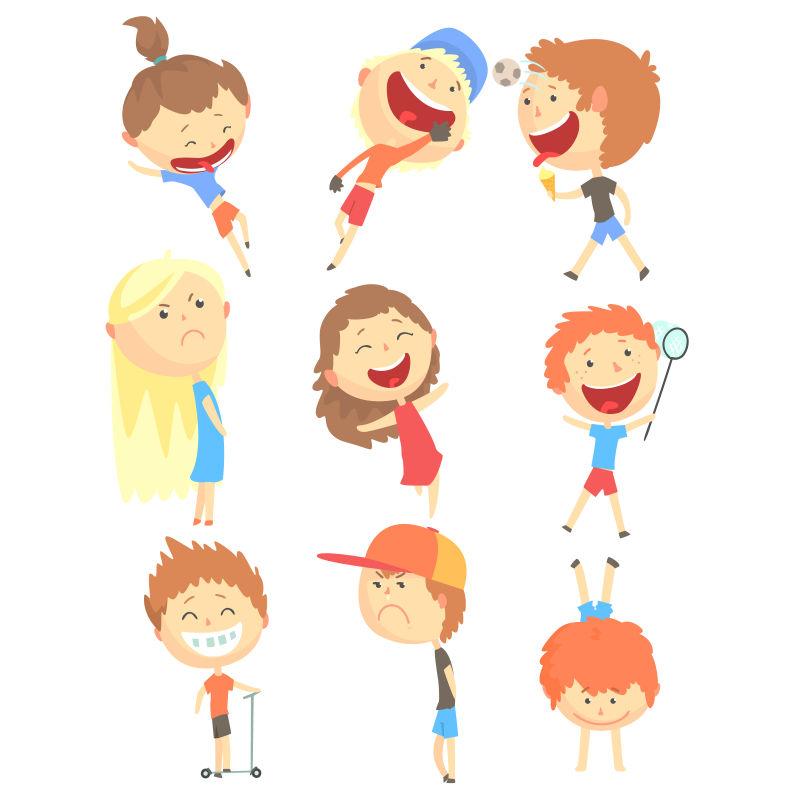 抽象矢量现代玩耍的孩子插图设计