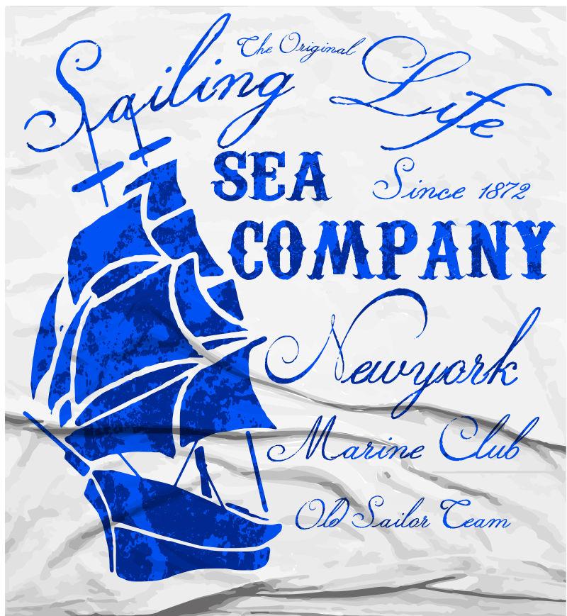 旧船海洋俱乐部水彩T型平面设计