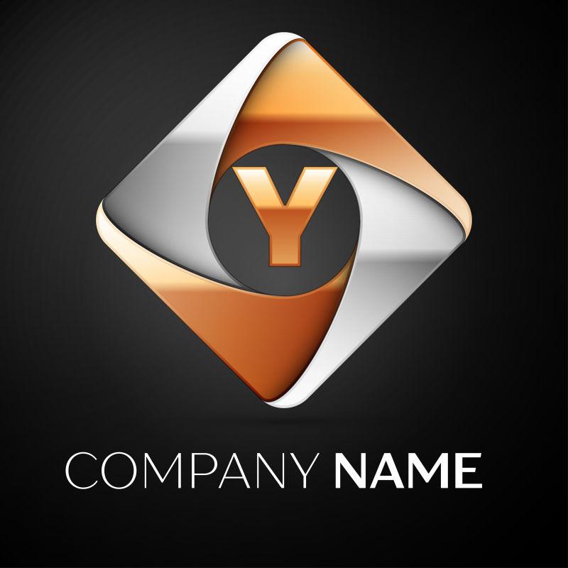 矢量的菱形字母Y标志设计