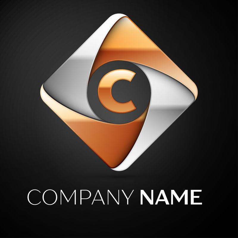 矢量的菱形字母C标志设计