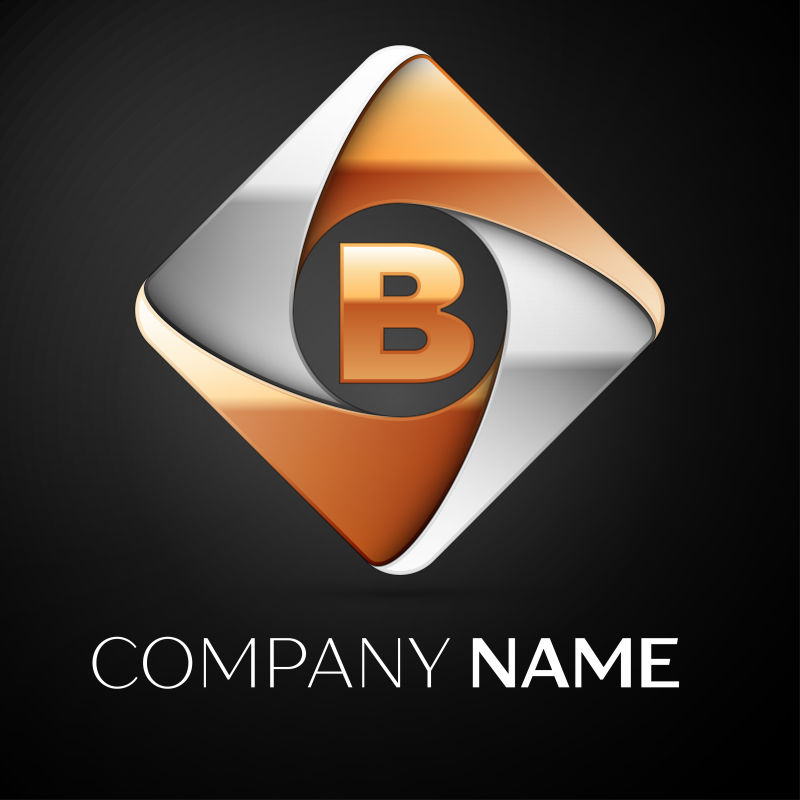 菱形字母B标志矢量设计
