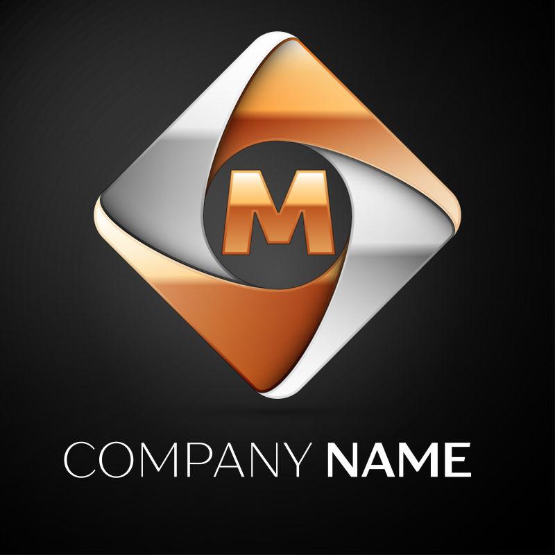 矢量的菱形字母M标志