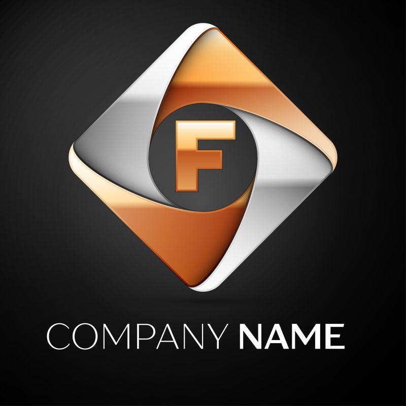 菱形字母F标志矢量设计