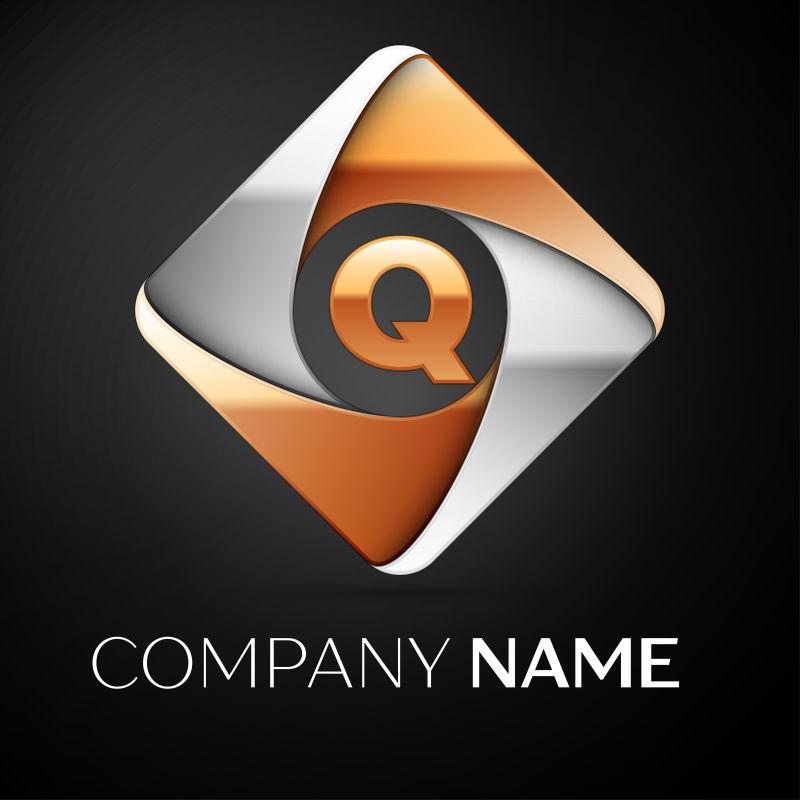 矢量的菱形字母Q标志