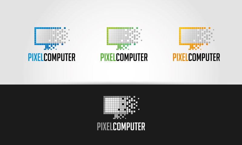 矢量的像素计算机标志