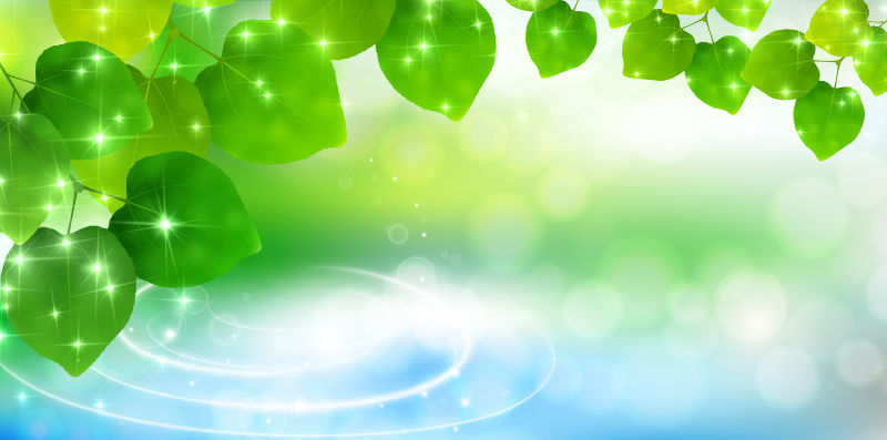 绿叶元素的矢量创意春季背景