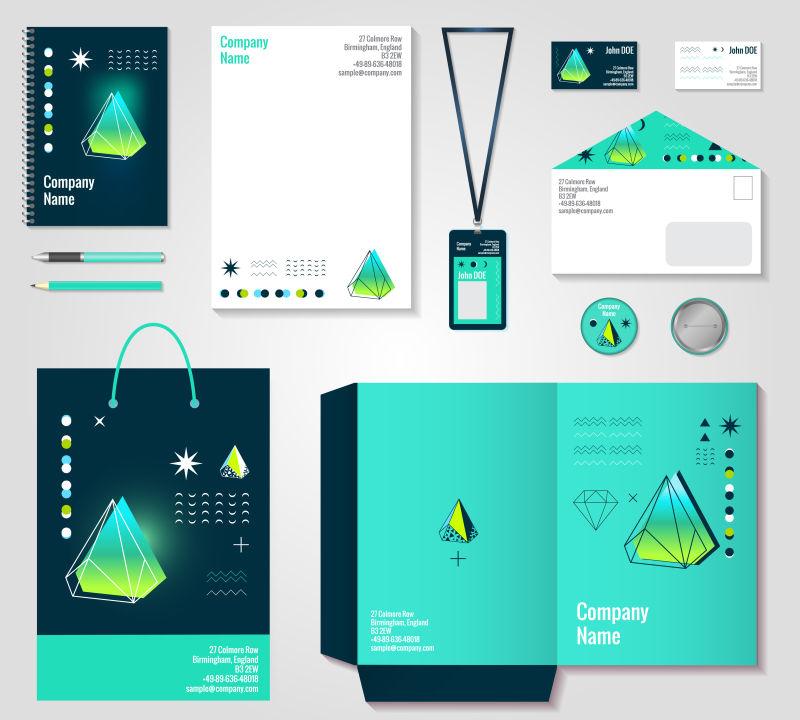 抽象矢量蓝色现代多边形元素的企业宣传设计