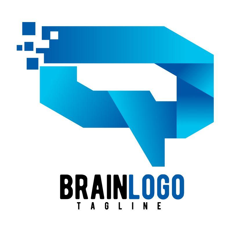 创意矢量蓝色几何风格的字母q商业标志设计