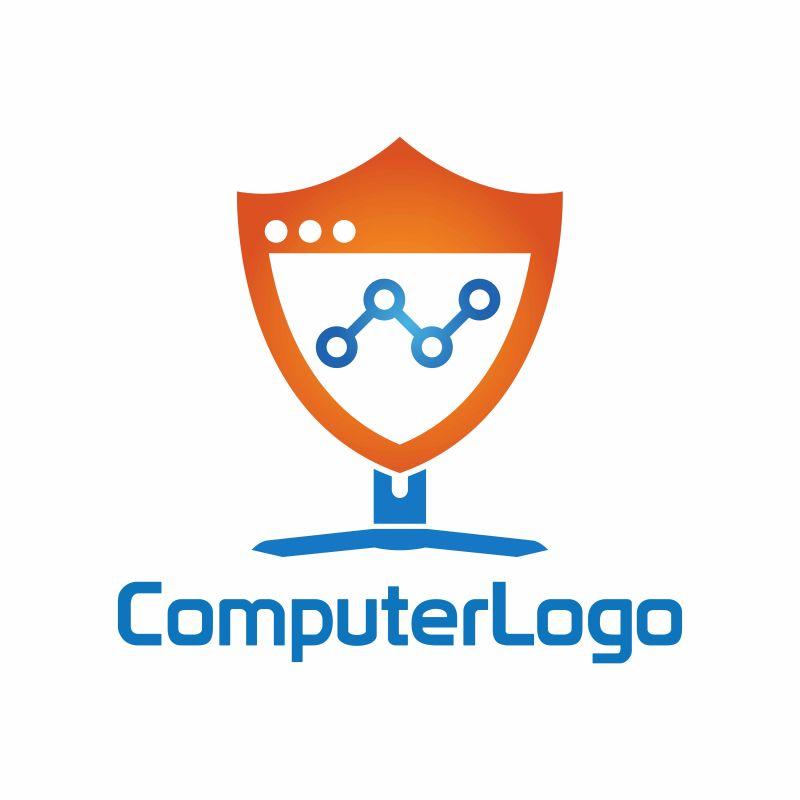 抽象矢量电脑安全标志设计
