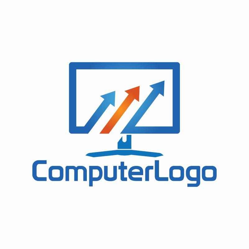 抽象矢量现代电脑标志设计