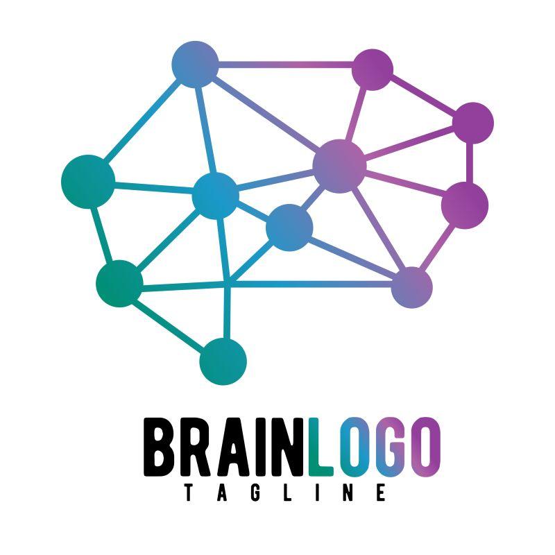 抽象矢量几何数据连接主题的大脑标志设计