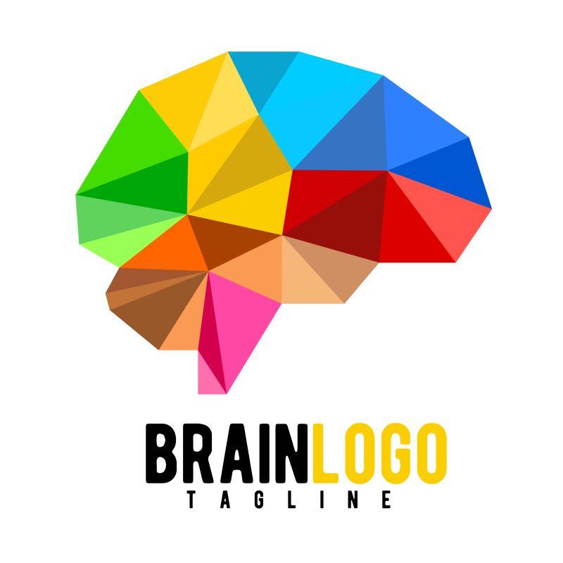 抽象矢量彩色几何大脑标志设计