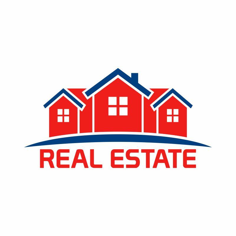 矢量抽象红色建筑元素标志设计