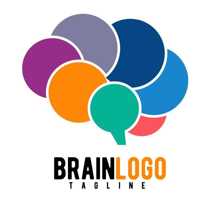 抽象矢量现代抽象图形大脑标志设计